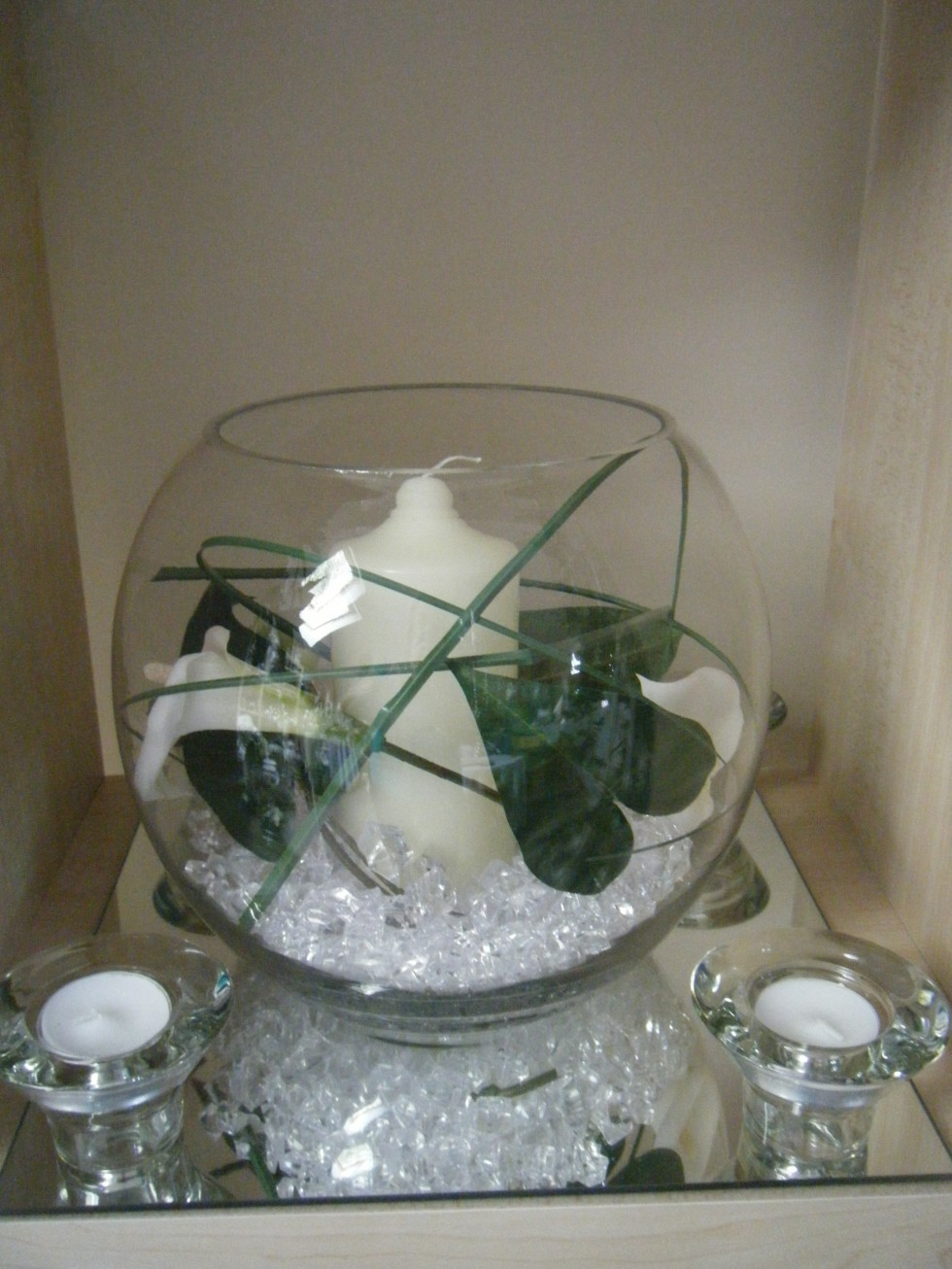 Fish bowl with candle- hired item